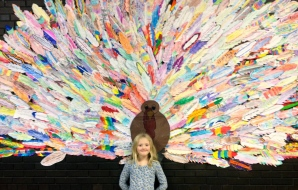 Each of the kids at my daughter's school wrote what they were thankful for on a feather, creating this Thankful Turkey.