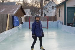 February: Backyard hockey rink.