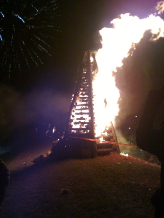On Christmas Eve, bonfires are lit on the Mississippi River levee to help guide Papa Noel. (St. James Parish, Louisiana)