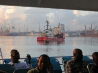 On the ferry, waiting for it to leave Zanzibar Gate