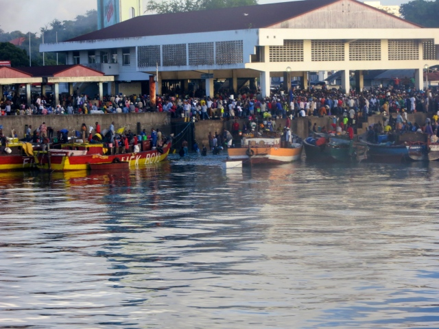 Commuters at the Kigamboni Ferry Terminal