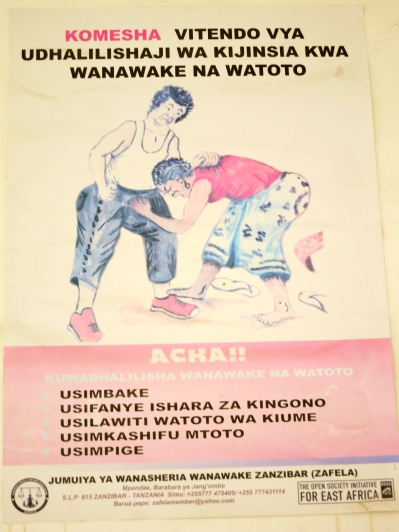 This poster is part of a campaign to end Violence Against Women in Zanzibar