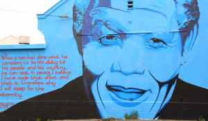 Mandela memorial painted on a building in Capetown, South Africa.