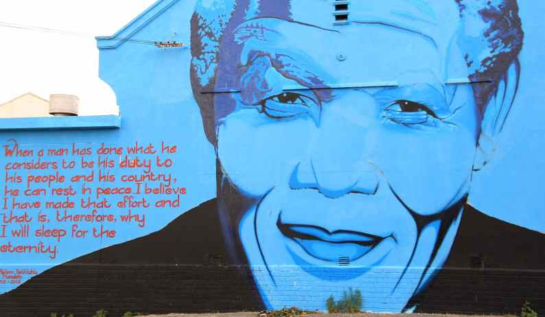 Mandela memorial painted on a building in Capetown, South Africa