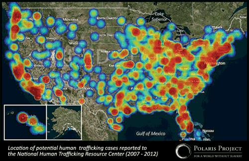 Location of potential human trafficking cases reported to the National Human Trafficking Resource Center (2007-2012)