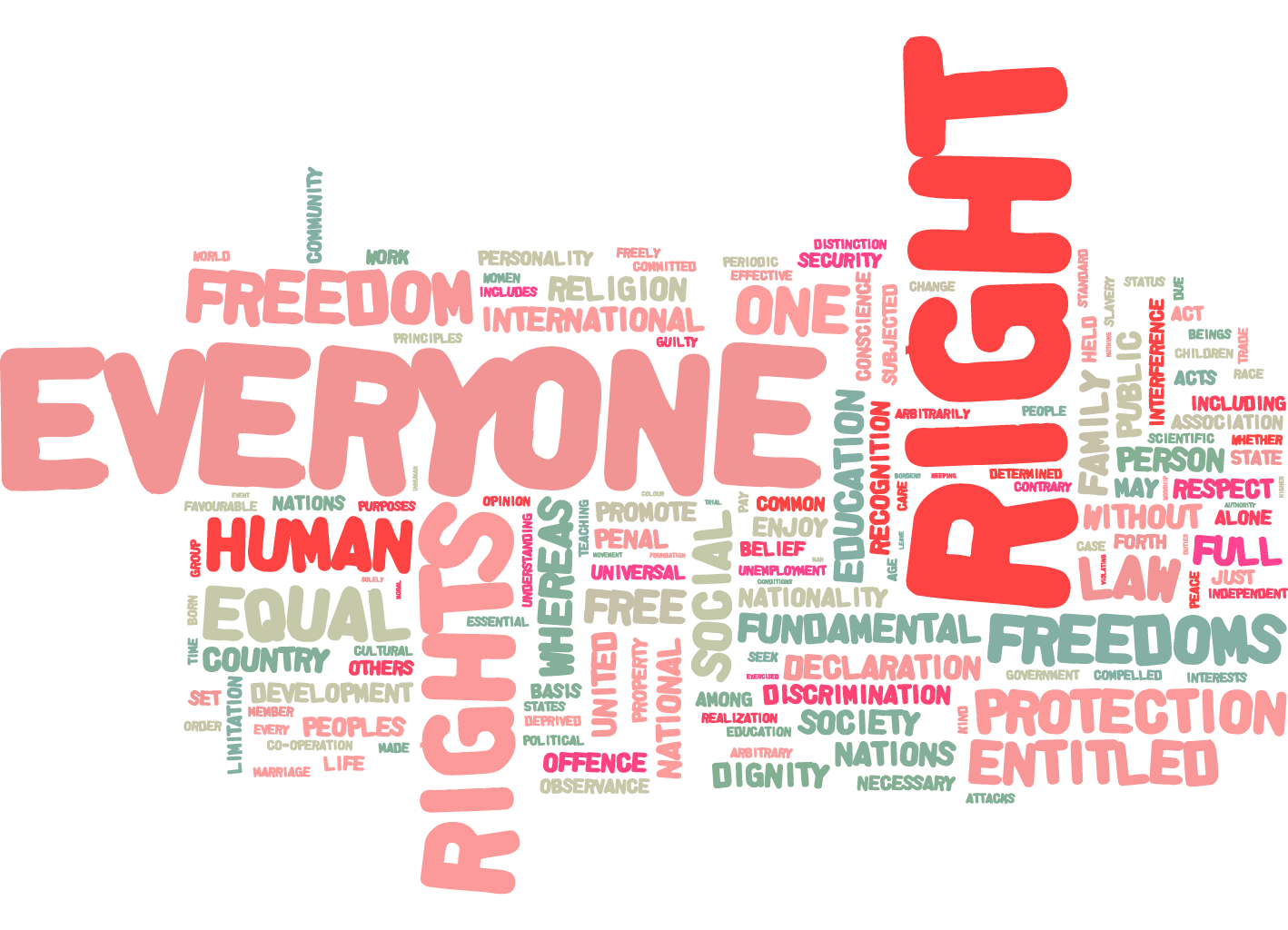 The UDHR in a word cloud. From Article 26 website.